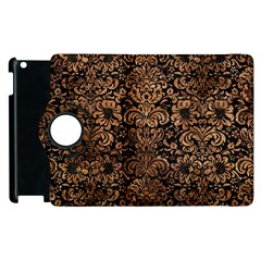 Damask2 Black Marble & Brown Stone Apple Ipad 3/4 Flip 360 Case by trendistuff