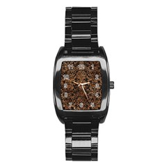 Damask2 Black Marble & Brown Stone Stainless Steel Barrel Watch by trendistuff