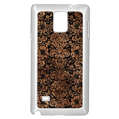 Damask2 Black Marble & Brown Stone Samsung Galaxy Note 4 Case (white) by trendistuff