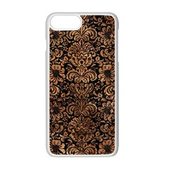 Damask2 Black Marble & Brown Stone Apple Iphone 7 Plus White Seamless Case by trendistuff