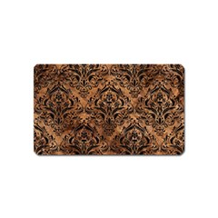 Damask1 Black Marble & Brown Stone (r) Magnet (name Card)