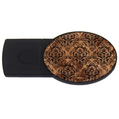 Damask1 Black Marble & Brown Stone (r) Usb Flash Drive Oval (4 Gb) by trendistuff