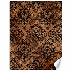 Damask1 Black Marble & Brown Stone (r) Canvas 36  X 48  by trendistuff