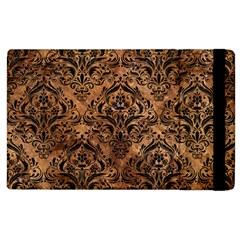 Damask1 Black Marble & Brown Stone (r) Apple Ipad 3/4 Flip Case by trendistuff
