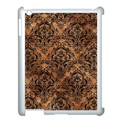 Damask1 Black Marble & Brown Stone (r) Apple Ipad 3/4 Case (white) by trendistuff