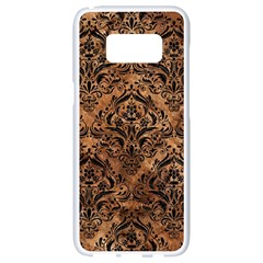Damask1 Black Marble & Brown Stone (r) Samsung Galaxy S8 White Seamless Case by trendistuff