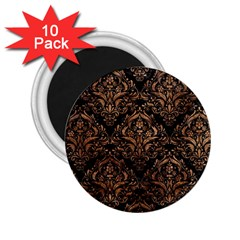 Damask1 Black Marble & Brown Stone 2 25  Magnet (10 Pack)