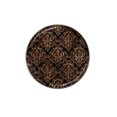 Damask1 Black Marble & Brown Stone Hat Clip Ball Marker (10 Pack) by trendistuff