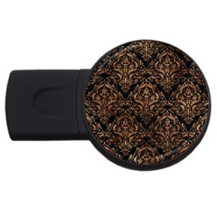 Damask1 Black Marble & Brown Stone Usb Flash Drive Round (4 Gb) by trendistuff
