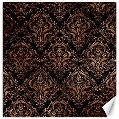 Damask1 Black Marble & Brown Stone Canvas 16  X 16  by trendistuff