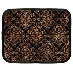 Damask1 Black Marble & Brown Stone Netbook Case (large) by trendistuff