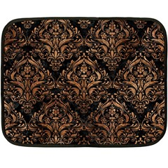 Damask1 Black Marble & Brown Stone Double Sided Fleece Blanket (mini) by trendistuff