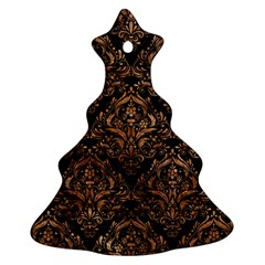 Damask1 Black Marble & Brown Stone Ornament (christmas Tree)  by trendistuff