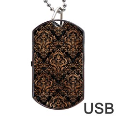 Damask1 Black Marble & Brown Stone Dog Tag Usb Flash (two Sides) by trendistuff
