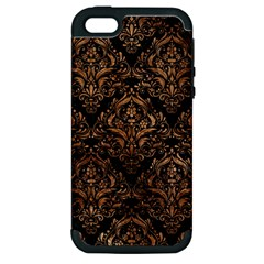 Damask1 Black Marble & Brown Stone Apple Iphone 5 Hardshell Case (pc+silicone) by trendistuff