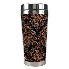 Damask1 Black Marble & Brown Stone Stainless Steel Travel Tumbler by trendistuff