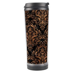 Damask1 Black Marble & Brown Stone Travel Tumbler by trendistuff