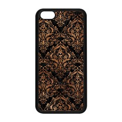 Damask1 Black Marble & Brown Stone Apple Iphone 5c Seamless Case (black) by trendistuff