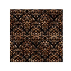 Damask1 Black Marble & Brown Stone Small Satin Scarf (square) by trendistuff