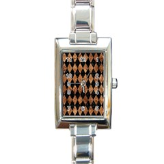 Diamond1 Black Marble & Brown Stone Rectangle Italian Charm Watch by trendistuff