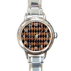 Diamond1 Black Marble & Brown Stone Round Italian Charm Watch by trendistuff