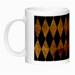 Diamond1 Black Marble & Brown Stone Night Luminous Mug by trendistuff
