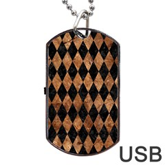 Diamond1 Black Marble & Brown Stone Dog Tag Usb Flash (one Side) by trendistuff