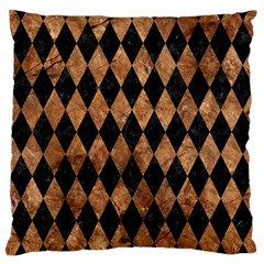 Diamond1 Black Marble & Brown Stone Large Cushion Case (two Sides) by trendistuff