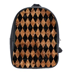 Diamond1 Black Marble & Brown Stone School Bag (xl)