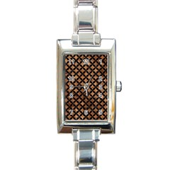Circles3 Black Marble & Brown Stone (r) Rectangle Italian Charm Watch by trendistuff