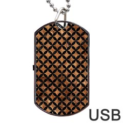 Circles3 Black Marble & Brown Stone (r) Dog Tag Usb Flash (one Side) by trendistuff