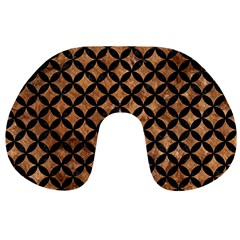 Circles3 Black Marble & Brown Stone (r) Travel Neck Pillow by trendistuff