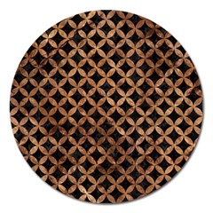 Circles3 Black Marble & Brown Stone Magnet 5  (round) by trendistuff