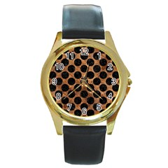 Circles2 Black Marble & Brown Stone (r) Round Gold Metal Watch by trendistuff