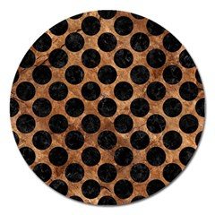 Circles2 Black Marble & Brown Stone (r) Magnet 5  (round) by trendistuff