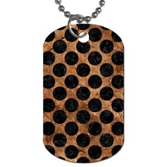 Circles2 Black Marble & Brown Stone (r) Dog Tag (one Side) by trendistuff