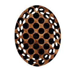 Circles2 Black Marble & Brown Stone (r) Oval Filigree Ornament (two Sides) by trendistuff