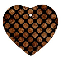 Circles2 Black Marble & Brown Stone Ornament (heart) by trendistuff