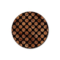 Circles2 Black Marble & Brown Stone Rubber Coaster (round) by trendistuff