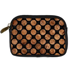 Circles2 Black Marble & Brown Stone Digital Camera Leather Case by trendistuff