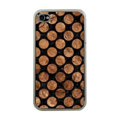Circles2 Black Marble & Brown Stone Apple Iphone 4 Case (clear)