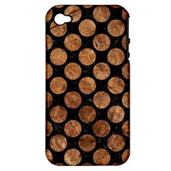 Circles2 Black Marble & Brown Stone Apple Iphone 4/4s Hardshell Case (pc+silicone) by trendistuff