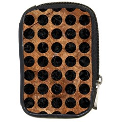 Circles1 Black Marble & Brown Stone (r) Compact Camera Leather Case by trendistuff