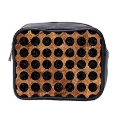 Circles1 Black Marble & Brown Stone (r) Mini Toiletries Bag (two Sides) by trendistuff