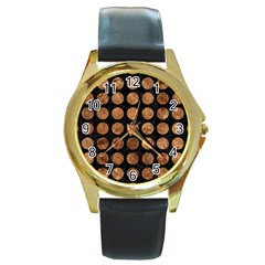 Circles1 Black Marble & Brown Stone Round Gold Metal Watch by trendistuff