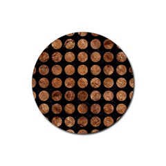 Circles1 Black Marble & Brown Stone Rubber Coaster (round) by trendistuff