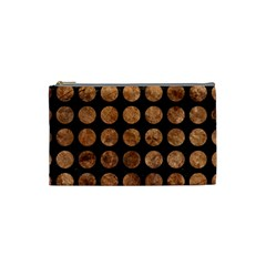 Circles1 Black Marble & Brown Stone Cosmetic Bag (small) by trendistuff