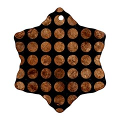 Circles1 Black Marble & Brown Stone Snowflake Ornament (two Sides) by trendistuff