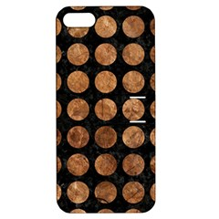 Circles1 Black Marble & Brown Stone Apple Iphone 5 Hardshell Case With Stand by trendistuff