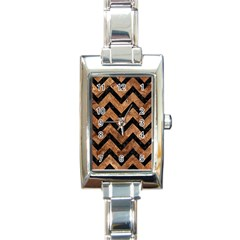 Chevron9 Black Marble & Brown Stone (r) Rectangle Italian Charm Watch by trendistuff